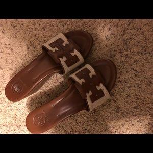 TORY BURCH sandals clogs wedge 9m
